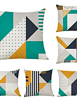 cheap -6 pcs Linen Pillow Cover, Geometric Geometic Casual Modern Square Traditional Classic