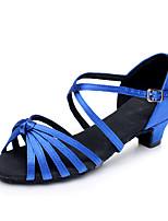 cheap -Women's Latin Shoes Satin Heel Cuban Heel Customizable Dance Shoes Black / Red / Blue