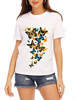 cheap -Women's T-shirt Graphic Tops - Print Round Neck Basic Daily Summer White S M L XL 2XL 3XL 4XL