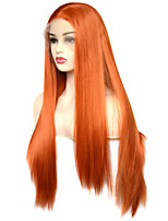 cheap -Vogue Queen Orange Long Straight Synthetic Lace Front Wig High Quality Heat Resistant Fiber Daily Wearing For Women
