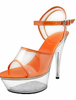 cheap -Women's Sandals Summer Cone Heel Open Toe Classic Minimalism Party & Evening Crystal / Buckle Solid Colored PVC Almond / White / Dark Purple / Clear / Transparent / PVC