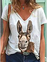 cheap -Women's T-shirt Animal Tops - Print V Neck Daily White S M L XL 2XL 3XL