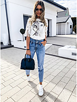 cheap -Women's Blouse Graphic Tops - Cut Out Print Round Neck Basic Daily Summer White S M L XL