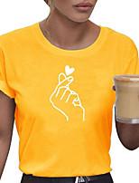 cheap -Women's Graphic T-shirt Daily White / Black / Yellow / Blushing Pink / Gray