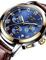 cheap -LIGE Men's Sport Watch Quartz Modern Style Stylish Casual Water Resistant / Waterproof Leather Analog - Black+Gloden White+Gold Black