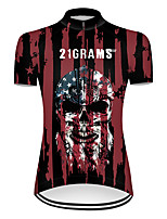 cheap -21Grams Women's Short Sleeve Cycling Jersey Nylon Polyester Black / Red Skull American / USA National Flag Bike Jersey Top Mountain Bike MTB Road Bike Cycling Breathable Quick Dry Ultraviolet