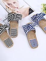 cheap -Women's Slippers & Flip-Flops Summer Flat Heel Open Toe Daily Canvas Black / Red / Blue