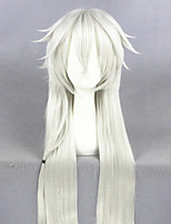 cheap -Cosplay Wig Touken Ranbu Straight Cosplay Asymmetrical With Bangs Wig Very Long Sliver White Synthetic Hair 40 inch Men's Anime Cosplay Cool White