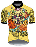 cheap -21Grams Men's Short Sleeve Cycling Jersey Nylon Polyester Black / Yellow Skull Floral Botanical Bike Jersey Top Mountain Bike MTB Road Bike Cycling Breathable Quick Dry Ultraviolet Resistant Sports