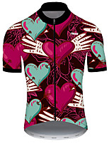 cheap -21Grams Men's Short Sleeve Cycling Jersey Nylon Polyester Red+Blue Heart Novelty Funny Bike Jersey Top Mountain Bike MTB Road Bike Cycling Breathable Quick Dry Ultraviolet Resistant Sports Clothing