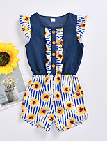 cheap -Kids Girls' Active Basic Daily Wear Festival Blue Striped Floral Patchwork Sleeveless Regular Short Clothing Set Blue