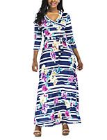 cheap -Women's Sheath Dress Maxi long Dress - 3/4 Length Sleeve Striped Floral Summer Casual 2020 Blue S M L XL XXL