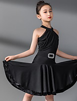 cheap -Latin Dance Kids' Dancewear Dress Sashes / Ribbons Pleats Girls' Training Daily Wear Sleeveless Polyester