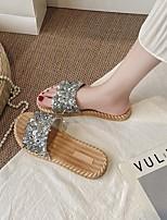 cheap -Women's Slippers & Flip-Flops Summer Flat Heel Open Toe Daily PU Black / Gold / Silver