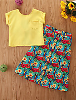 cheap -Kids Girls' Basic Casual Solid Colored Sleeveless Regular Regular Clothing Set Yellow