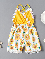 cheap -Kids Girls' Active Basic Vacation Festival Daisy Sun Flower Floral Backless Lace up Sleeveless Regular Regular Clothing Set Yellow
