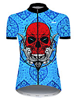 cheap -21Grams Women's Short Sleeve Cycling Jersey Nylon Polyester Red+Blue Skull Funny Bike Jersey Top Mountain Bike MTB Road Bike Cycling Breathable Quick Dry Ultraviolet Resistant Sports Clothing Apparel