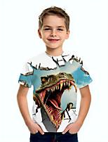 cheap -Kids Boys' Basic Dinosaur Animal Print Short Sleeve Tee Blue