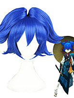 cheap -Cosplay Wig Sayo samonji Touken Ranbu Straight Cosplay With 2 Ponytails With Bangs Wig Short Blue Synthetic Hair 12 inch Women's Anime Cosplay Women Blue