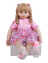 cheap -FeelWind 24 inch Reborn Doll Baby & Toddler Toy Reborn Toddler Doll Baby Girl Gift Cute Lovely Parent-Child Interaction Tipped and Sealed Nails 3/4 Silicone Limbs and Cotton Filled Body LV090 with