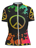 cheap -21Grams Women's Short Sleeve Cycling Jersey Nylon Polyester Black / Red Novelty Peace & Love Bike Jersey Top Mountain Bike MTB Road Bike Cycling Breathable Quick Dry Ultraviolet Resistant Sports