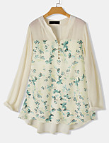 cheap -Women's Blouse Floral Tops - Patchwork Print V Neck Loose Basic Daily Summer Beige M L XL 2XL 3XL 4XL 5XL