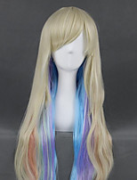 cheap -Cosplay Wig Mayu Vocaloid Curly Cosplay Asymmetrical With Bangs Wig Very Long Blonde Synthetic Hair 40 inch Women's Anime Cosplay Highlighted / Balayage Hair Blonde