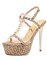 cheap -Women's Sandals Summer Stiletto Heel Open Toe Classic Sexy Wedding Party & Evening Buckle Leopard PU Gold / Animal Print