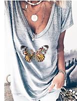 cheap -Women's T-shirt Geometric V Neck Tops Cotton Summer Gray