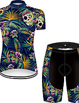cheap -21Grams Women's Short Sleeve Cycling Jersey with Shorts Nylon Polyester Black / Blue Gradient Skull Floral Botanical Bike Clothing Suit Breathable 3D Pad Quick Dry Ultraviolet Resistant Reflective