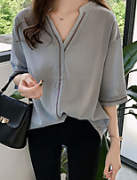 cheap -Women's Blouse Solid Colored Tops V Neck Loose Daily Blue Beige M L XL 2XL 3XL 4XL
