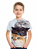 cheap -Kids Boys' Basic Cat Animal Print Short Sleeve Tee Light Blue