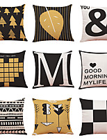 cheap -9 pcs Linen Pillow Cover Nordic Home Geometric Linen Pillow Cases Sofa Pillow Bedroom Car Pillow Cushion Office Nap Pillow