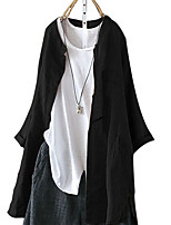 cheap -Women's Shirt Solid Colored Standing Collar Tops Loose White Black Khaki