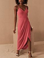 cheap -Sheath / Column Elegant Minimalist Party Wear Prom Dress V Neck Sleeveless Asymmetrical Spandex with Pleats Split 2020