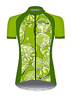 cheap -21Grams Women's Short Sleeve Cycling Jersey Nylon Polyester Green Fruit Lemon Bike Jersey Top Mountain Bike MTB Road Bike Cycling Breathable Quick Dry Ultraviolet Resistant Sports Clothing Apparel