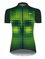 cheap -21Grams Women's Short Sleeve Cycling Jersey Nylon Polyester Black / Green Plaid Checkered 3D Gradient Bike Jersey Top Mountain Bike MTB Road Bike Cycling Breathable Quick Dry Ultraviolet Resistant