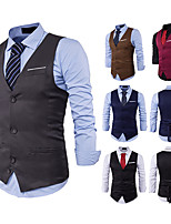 cheap -Gentleman Kingsman Vintage Masquerade Vest Waistcoat Men's Slim Fit Costume Black / Burgundy / Camel Vintage Cosplay Event / Party Sleeveless