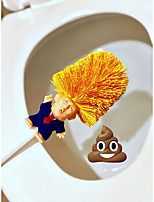 cheap -2pcs Trump Shaped Toilet Brush New Durable Plastic Household Bathroom Cleaning Toilet Cleaner Brushes Clean Tools Pattern Random