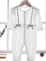 cheap -Baby Girls' Basic Striped Long Sleeve Romper White
