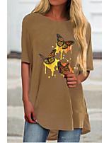 cheap -Women's T-shirt Animal Tops Round Neck Daily Blue Khaki Light Blue S M L XL 2XL 3XL