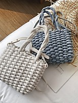 cheap -Women's Straw Top Handle Bag Straw Bag Solid Color White / Gray