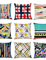 cheap -9 pcs Linen Pillow Cover, Art Graffiti Casual Modern Square Traditional Classic