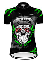 cheap -21Grams Women's Short Sleeve Cycling Jersey Nylon Polyester Black / Green Novelty Leaf Skull Bike Jersey Top Mountain Bike MTB Road Bike Cycling Breathable Quick Dry Ultraviolet Resistant Sports