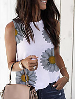cheap -Women's Tank Top Floral Tops Round Neck Daily Summer White S M L XL 2XL 3XL