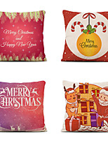 cheap -Set of 4 Linen Cotton Pillow Cover Holiday Christmas Modern Christmas Throw Pillow