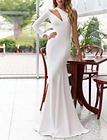 cheap -Mermaid / Trumpet Elegant Minimalist Engagement Formal Evening Dress One Shoulder Long Sleeve Sweep / Brush Train Stretch Satin with Sleek 2020