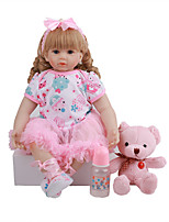 cheap -FeelWind 24 inch Reborn Doll Baby & Toddler Toy Reborn Toddler Doll Baby Girl Gift Cute Lovely Parent-Child Interaction Tipped and Sealed Nails 3/4 Silicone Limbs and Cotton Filled Body LV0104 with