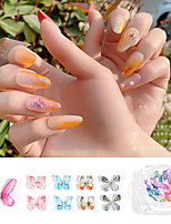 cheap -1 pcs Butterfly Nail Glitter  Universal / Water Resistant / Creative Acrylic Decals For Finger Nail Butterfly nail art Manicure Pedicure Party / Evening / Daily / Festival European / Sweet