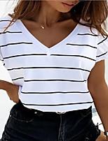 cheap -Women's T-shirt Striped V Neck Tops Loose Summer White Purple Blushing Pink
